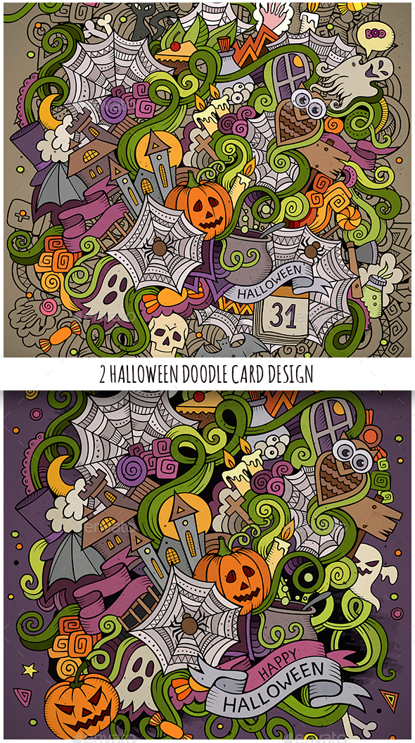 2 Happy Halloween Doodles Illustrations - Halloween Seasons/Holidays