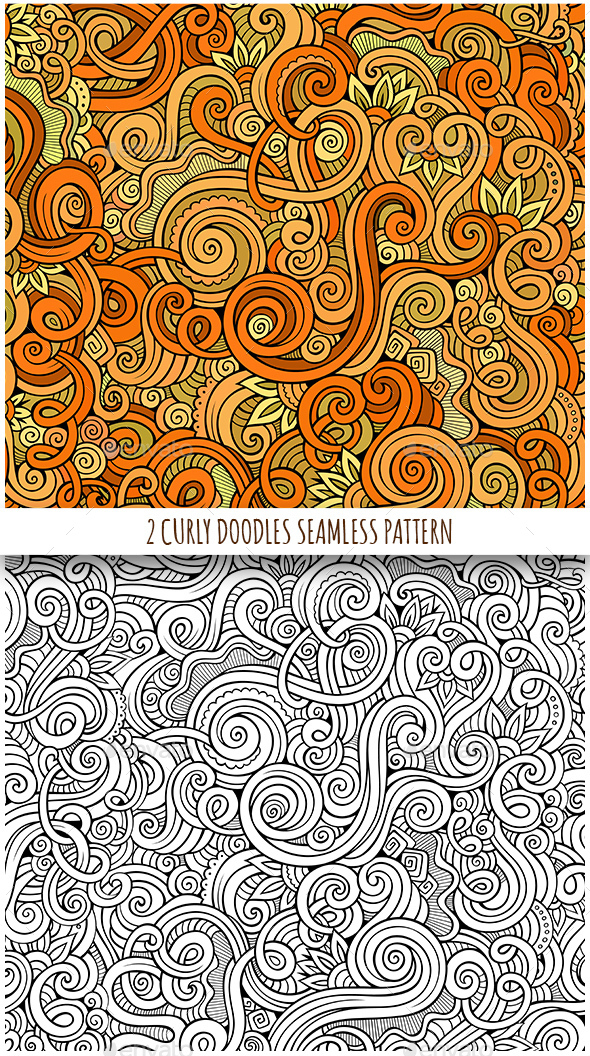 2 Curly Seamless Patterns - Patterns Decorative