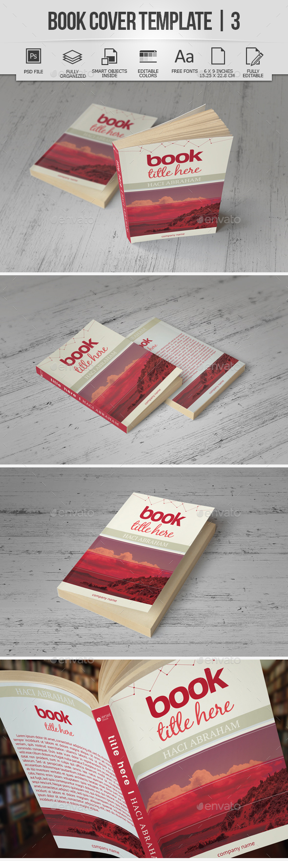 Book Cover Template | 3 - Miscellaneous Print Templates