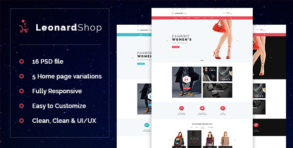 LeonardShop - E-Commerce and Blog PSD Theme - Fashion Retail