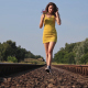Girl In Yellow On Rails 1 - VideoHive Item for Sale