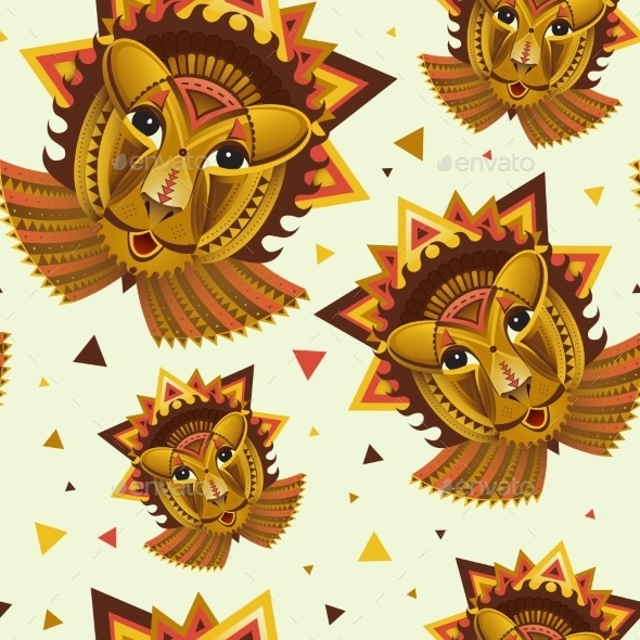 Geometric Face Of Lion Builded From Circles - Decorative Symbols Decorative