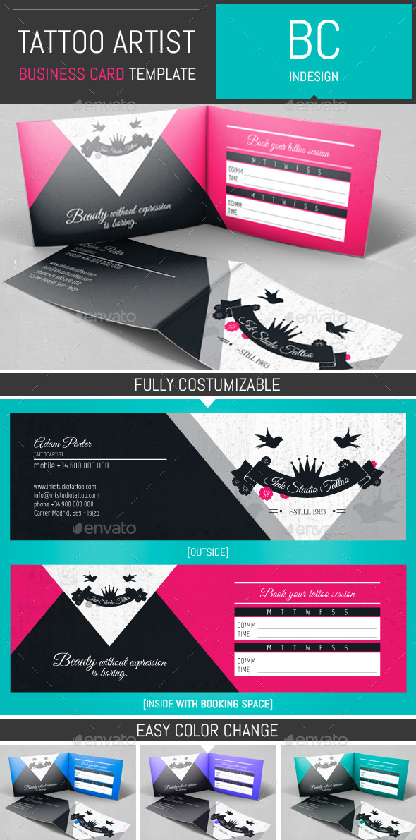 Tattoo Artist Folded Business Card Template By DogmaDesign - Tattoo business card templates