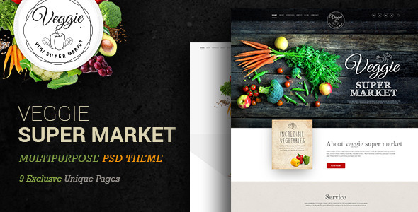 Veggie Super Market | Multipurpose PSD Template - Food Retail