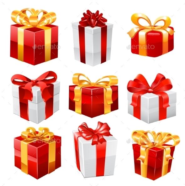 Gift Vector Set. - Objects Vectors