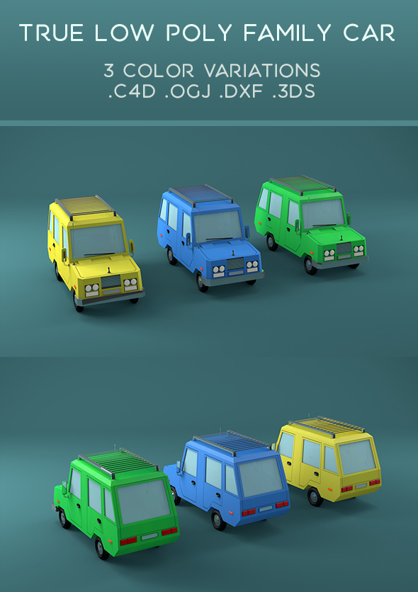 True Low poly Family Car - 3DOcean Item for Sale