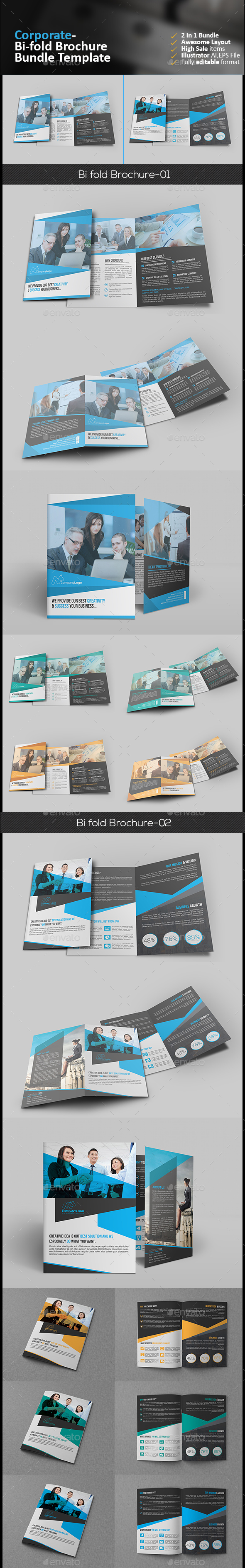 Bi Fold Brochure Bundle - Corporate Brochures