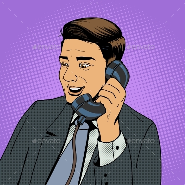 Businessman Talking On The Phone Vector - Backgrounds Decorative