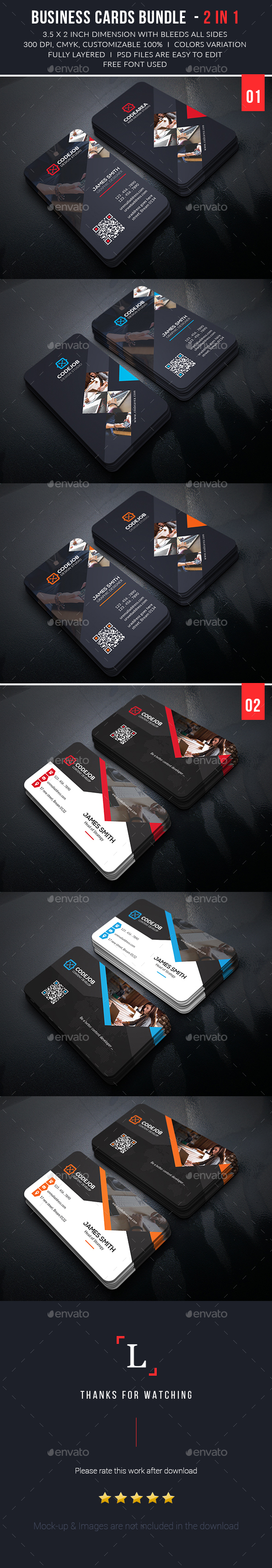 Corporate Business Cards Bundle - Business Cards Print Templates