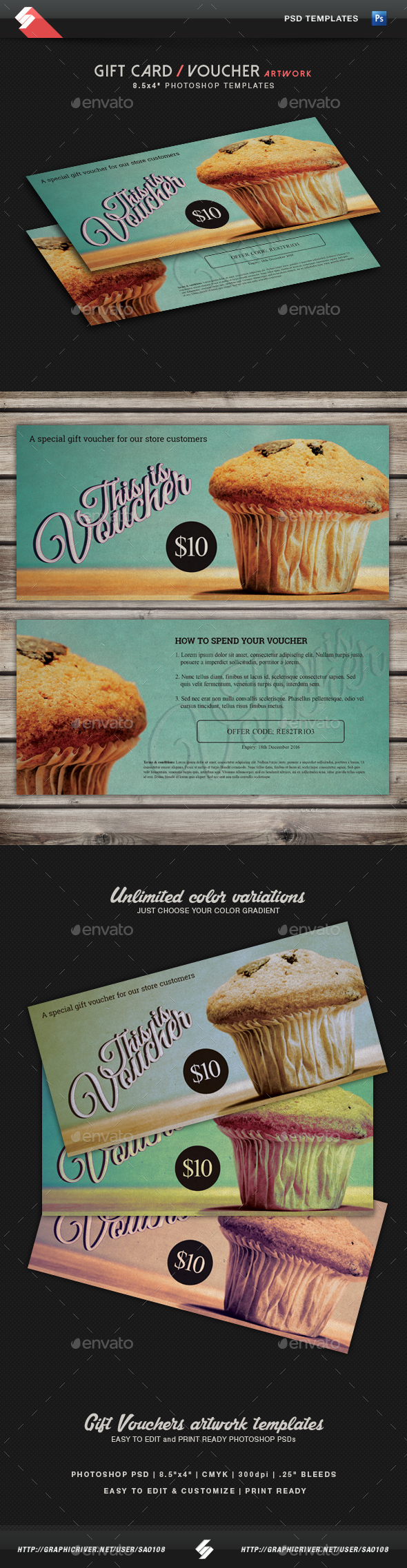 Retro Gift Voucher Template - Loyalty Cards Cards & Invites