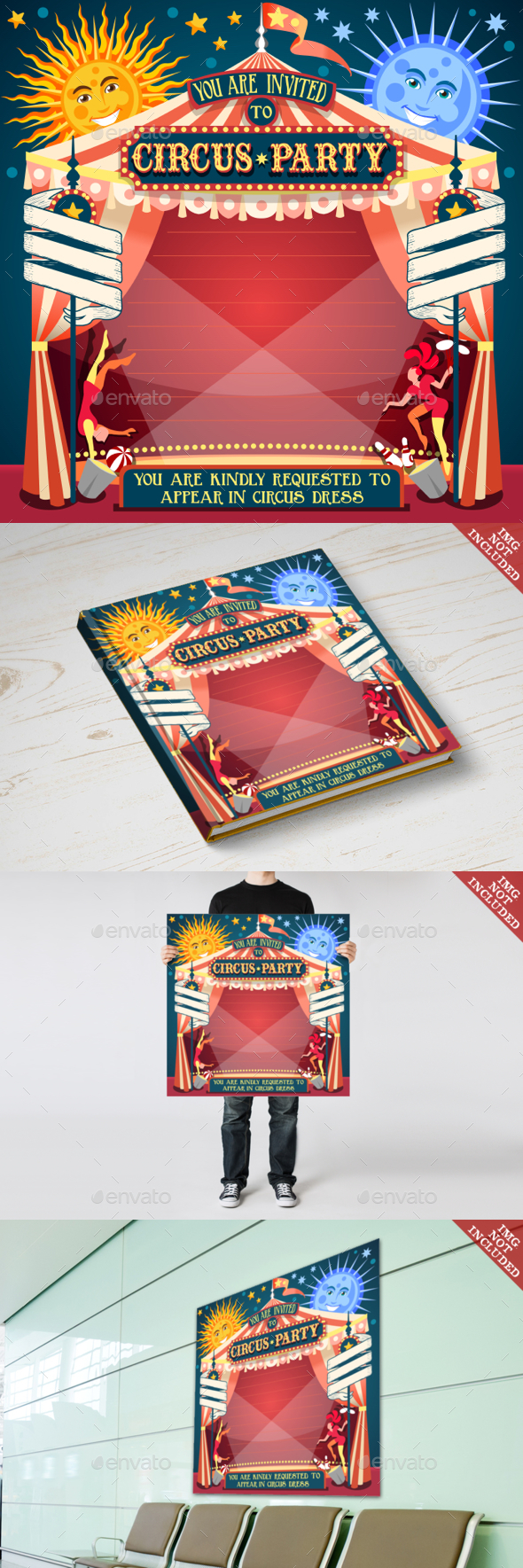 Circus 02 Invitation Vintage 2D - Decorative Vectors