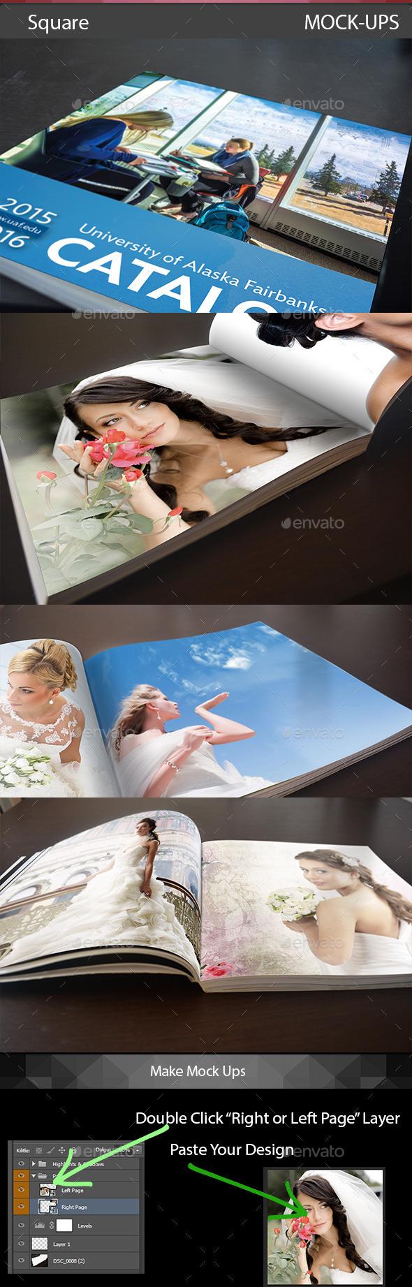 Square Mockup Template - Brochures Print