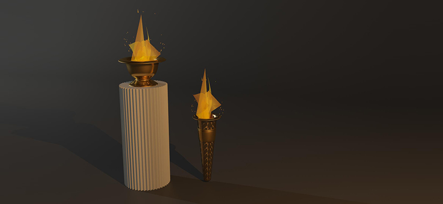 Two Olympic Flame 3D Model