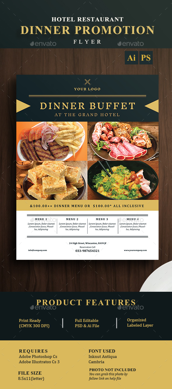 Hotel Restaurant Dinner Promotion Flyer - Restaurant Flyers