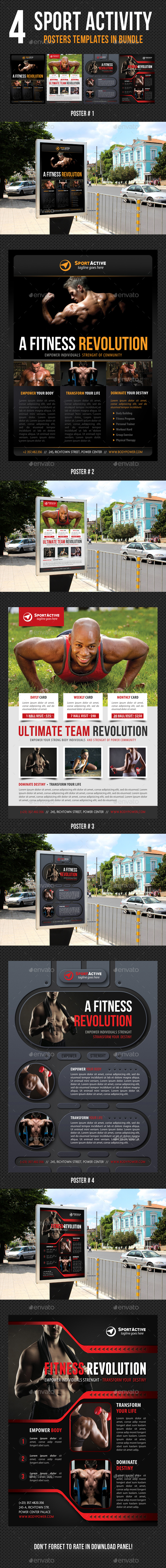 4 in 1 Sport Activity Poster Bundle V03 - Signage Print Templates