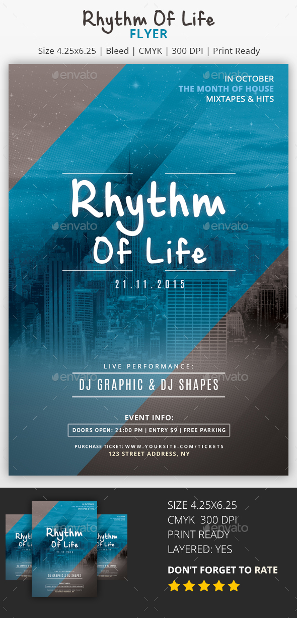 Rhythm of Life - PSD Flyer - Clubs & Parties Events