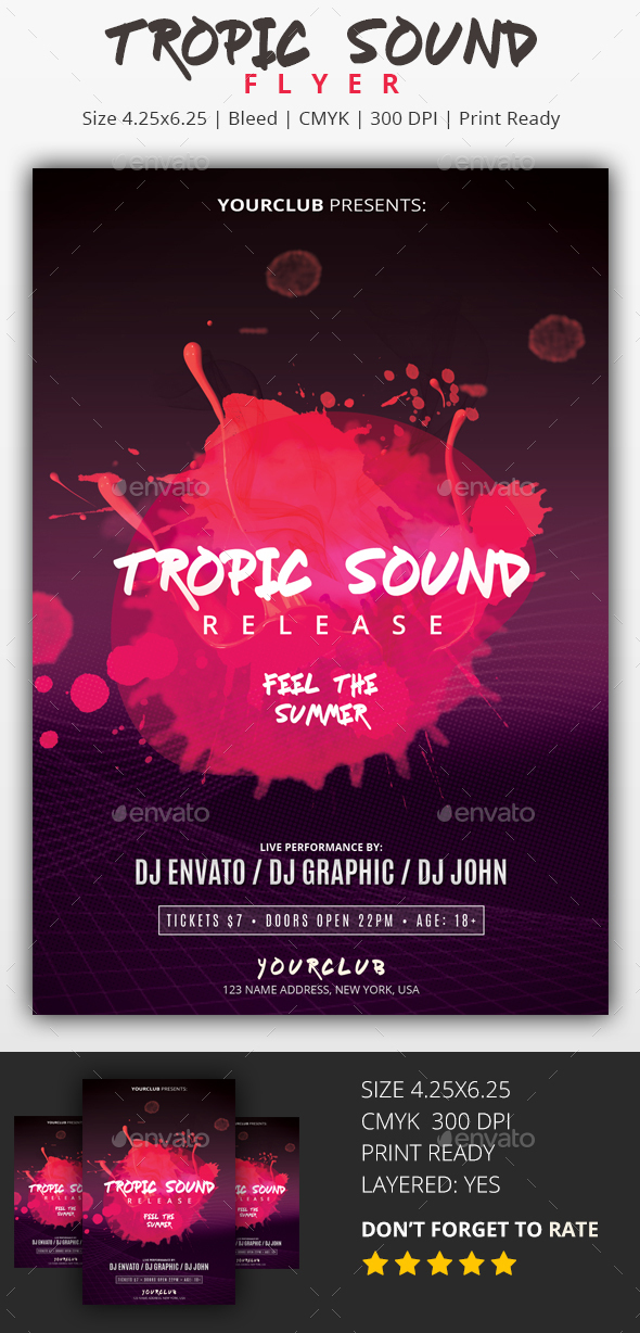 Tropic Sound - PSD Flyer - Clubs & Parties Events