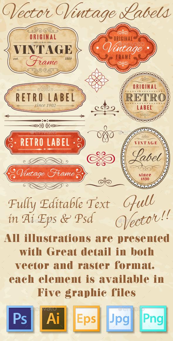 Vintage Grunge Labels - Flourishes / Swirls Decorative