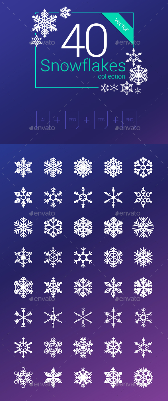 40 Vector Snowflakes Collection - Seasons Nature