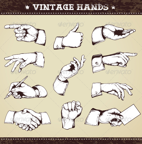 Set of vintage hands - Vectors