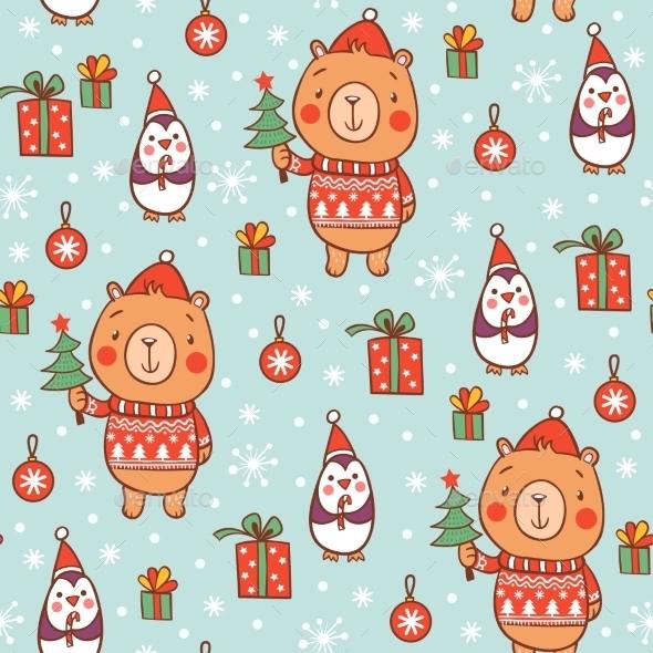 Cartoon Christmas Pattern - Christmas Seasons/Holidays