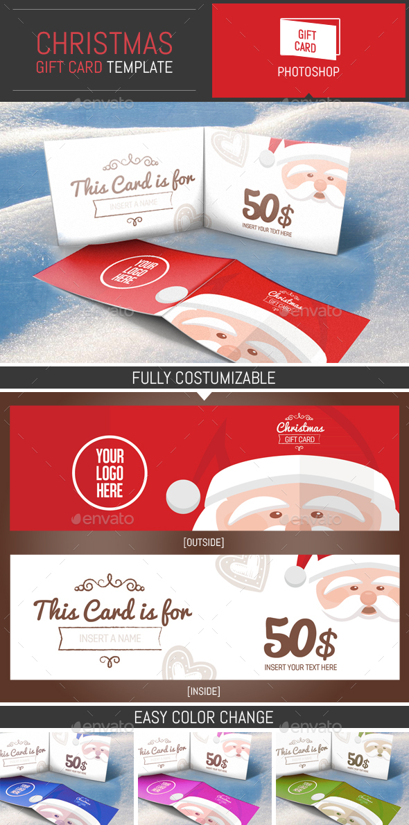 Christmas Gift Card Illustration Template - Cards & Invites Print Templates