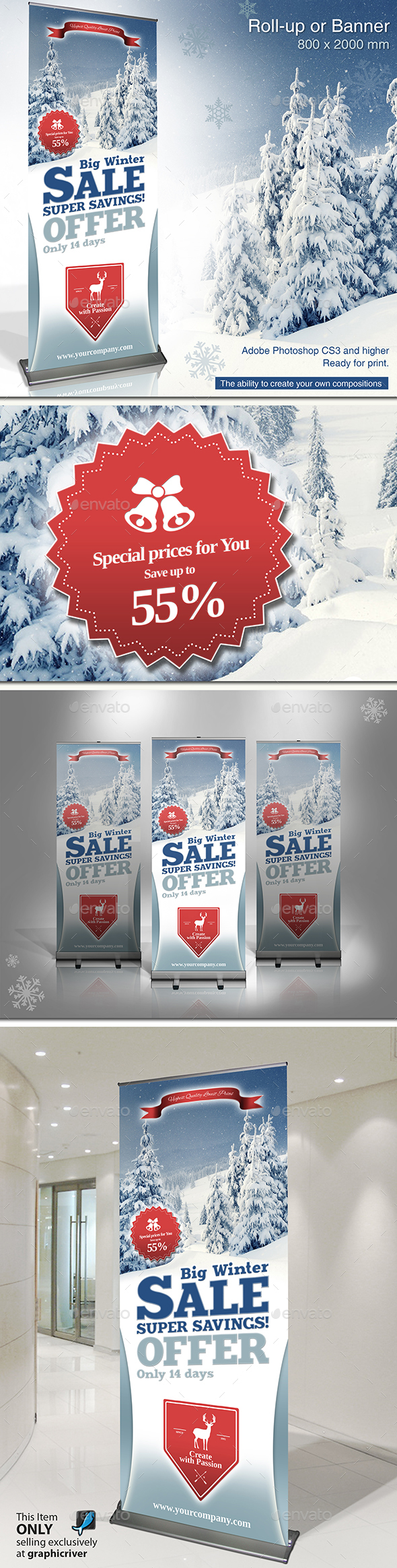 Winter Sale Roll Up Banner - Signage Print Templates