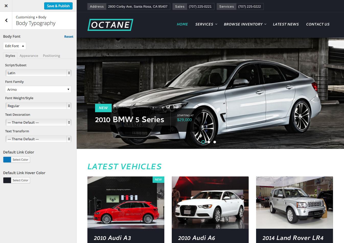 Octane car dealership theme