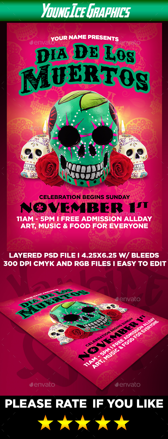 Dia De Los Muertos Flyer Template - Holidays Events