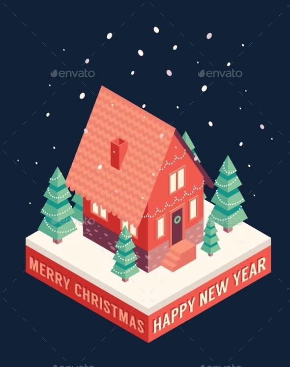 Isometric Icons Merry Christmas Happy New Year - Christmas Seasons/Holidays