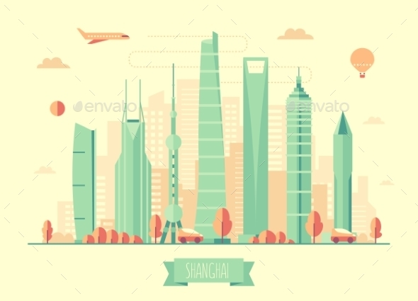 Shanghai Skyline Architecture Vector Illustration - Landscapes Nature