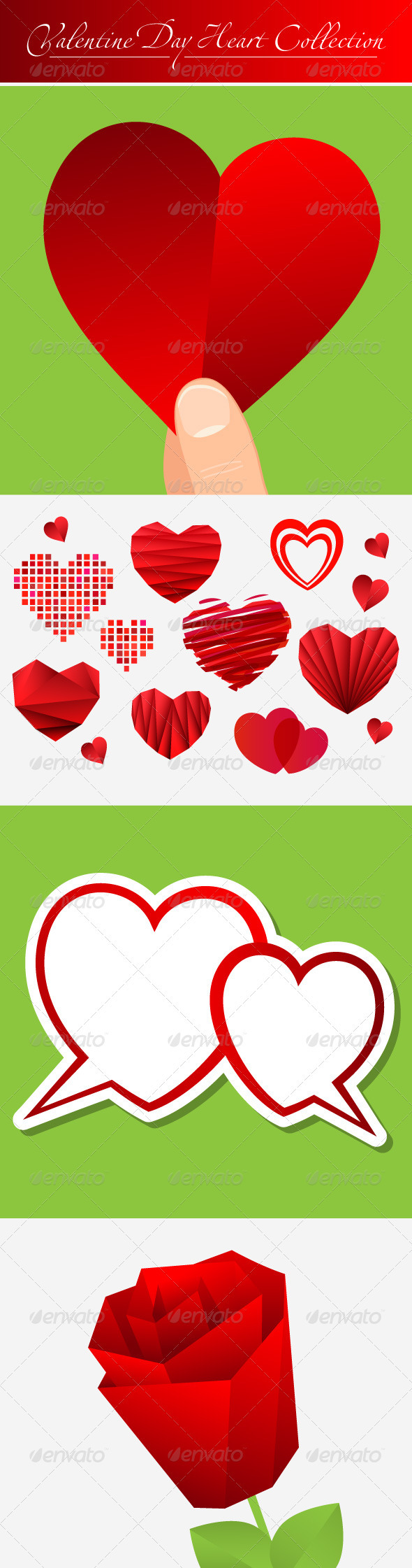 Valentine's Day Heart Collection and rose - Valentines Seasons/Holidays