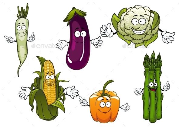 Cartoon Organic Farm Vegetables Characters - Food Objects
