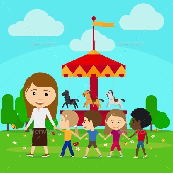 Teacher Leads Children In Kindergarten - People Characters