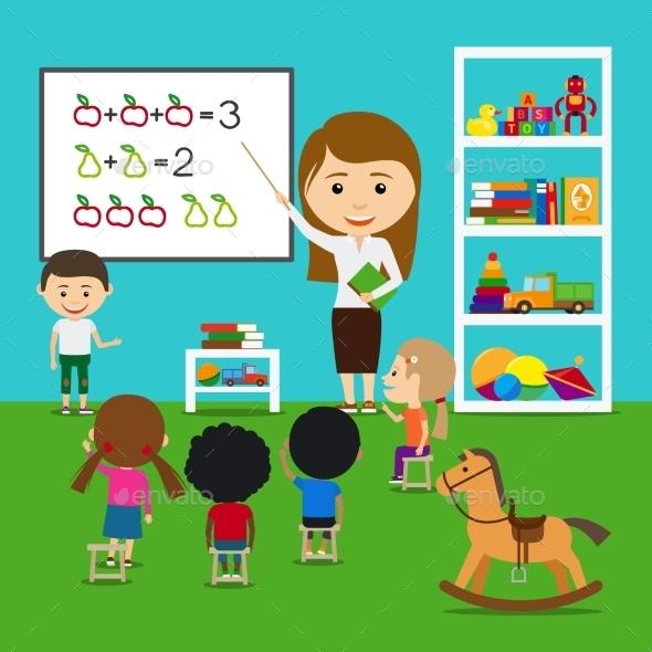 Teacher Teaching Kids - People Characters