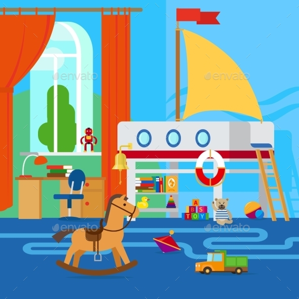 Childrens Room With Toys - Miscellaneous Vectors