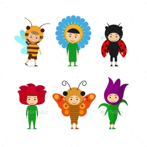 Kids In Insect And Flower Dresses - People Characters