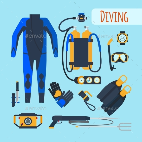 Diving Equipment Icons - Objects Vectors