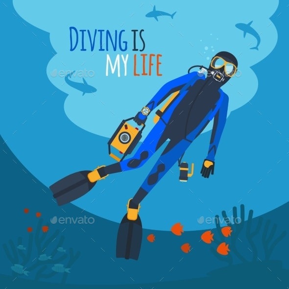 Diver Underwater Vector Illustration - People Characters