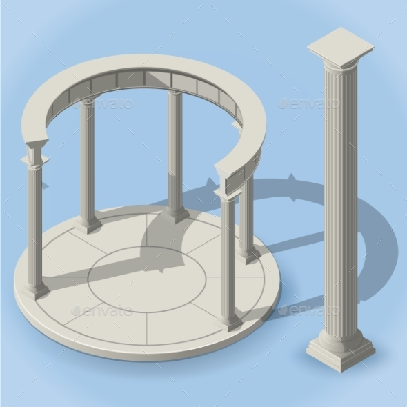 Isometric Ancient Rotunda Monopteros - Buildings Objects