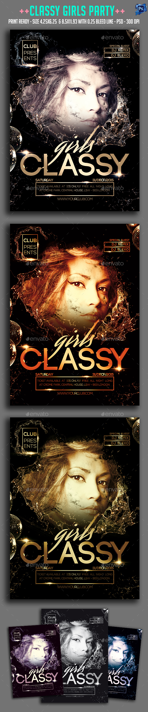 Classy Girl Party Flyer  - Clubs & Parties Events
