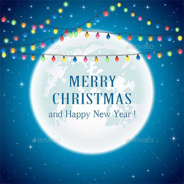 Christmas Lights on Moon Background - Christmas Seasons/Holidays