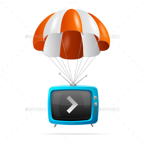 Tv and Parachute. Vector - Media Technology