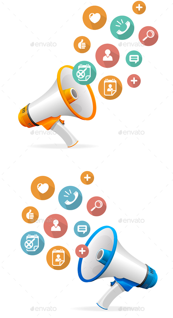 Icons and Megaphone. Vector - Communications Technology