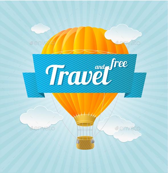 Air Ballon and Blue Sky. Vector - Travel Conceptual
