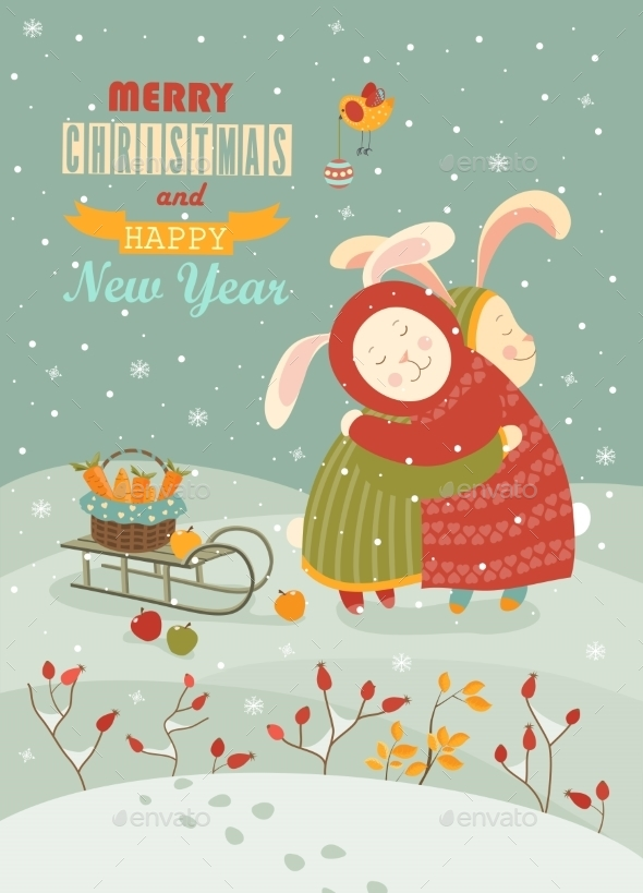 Cute Rabbits Celebrating Christmas - Christmas Seasons/Holidays