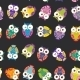 Seamless Pattern - Bright Colorful Owls On Black - GraphicRiver Item for Sale