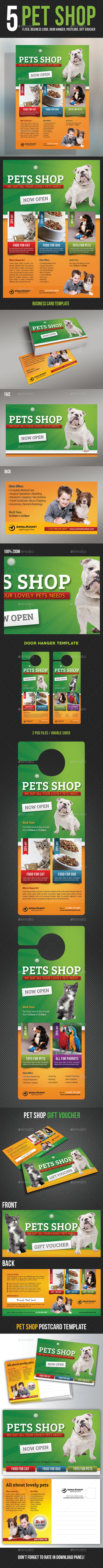 5 in 1 Pet Shop Templates Bundle - Flyers Print Templates