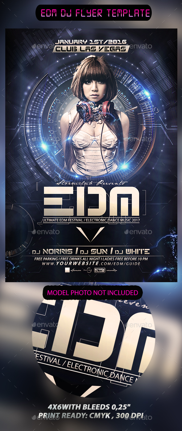 EDM DJ Flyer Template by Stormclub | GraphicRiver