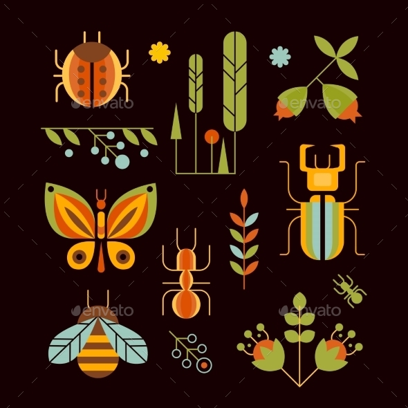 Nature, Insects And Tree Icons Vector Illustration - Decorative Vectors